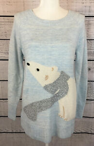 Lauren-Conrad-Blue-Polar-Bear-Pullover-Tunic-Sweater-Women-s-Size-Small-NWT