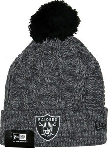 New-Era-NFL-Oakland-Raiders-Bobble-Gris-Sport-Tricot-Ligne-Bonnet
