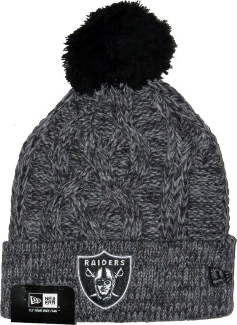 New Era NFL Oakland Raiders Bobble Gris Sport Tricot Ligne Bonnet