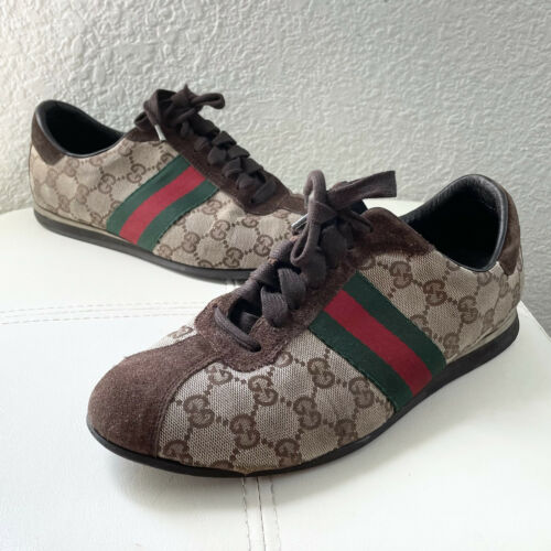 Vintage Classic Brown Green Red Gucci Logo Canvas… - image 1