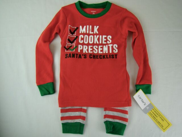 e842efad4 NWT NEW CARTER'S Santa's Checklist Two Piece Pajamas Boys Girls - Size 3T