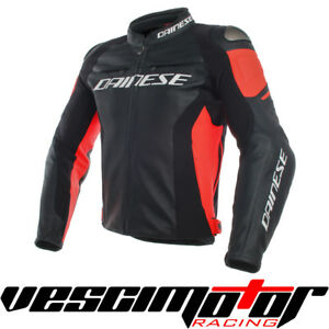 Giacca-Dainese-Racing-3-Perf-Leather-Jacket-Black-Black-Fluo-Red-Tg-48-N-N-R