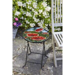 Coquelicots pliante Table en verre peinte à la main résistant aux intempéries jardin extérieur  </span>