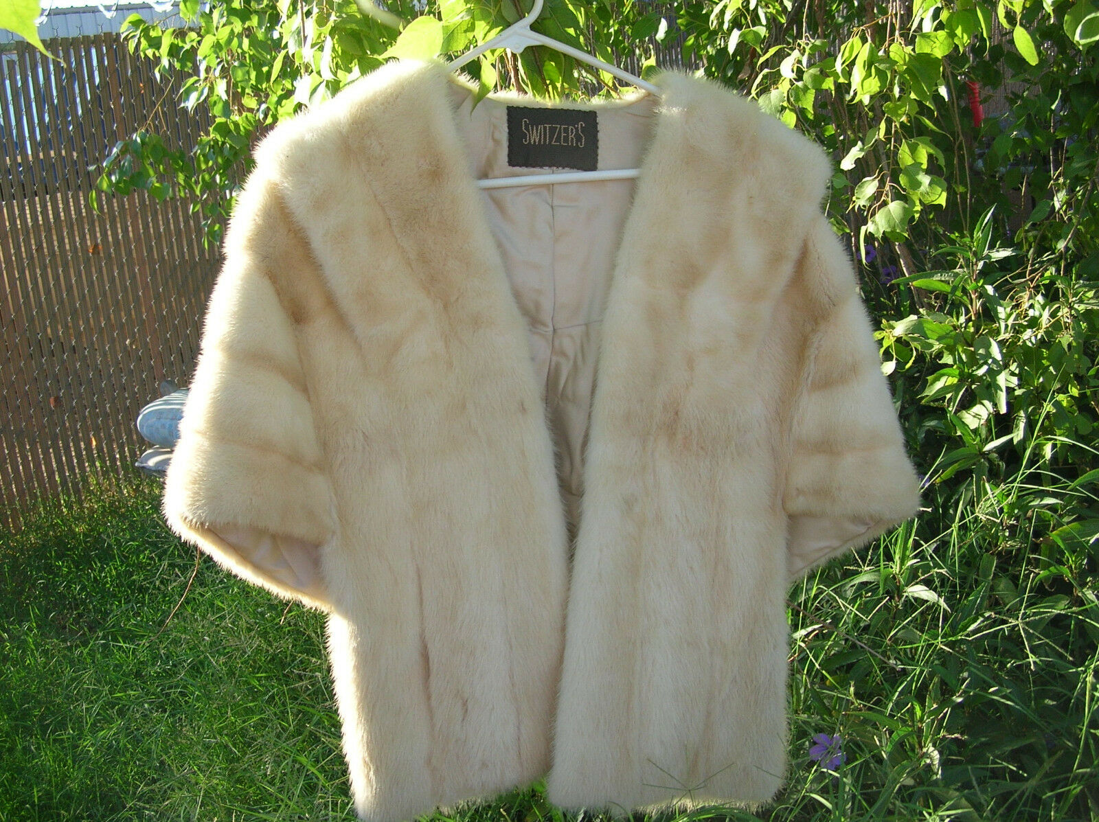BROWN FUR and WHITE FUR CAPELET CAPE STOLE WRAP EVENING DRESS WEDDING STYLE