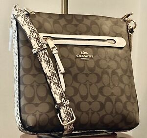 NWT-COACH-F77693-Mae-Signature-With-Snakeskin-Print-Leather-Women-s-Handbag