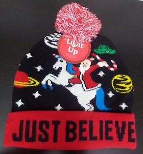 ab5ddc0c2ba01 Light Up Just Believe Santa Unicorn Space Ugly Christmas Hat One ...