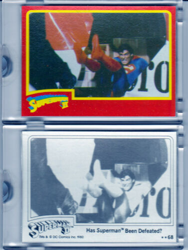 cards 1 of 1 COA 4 1980 Superman 2 Topps blank back color separation proof