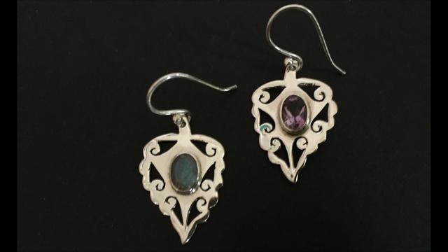 Genuine 925 Sterling Silver Teardrop Earrings Leaf Gemstone Labradorite Amethyst