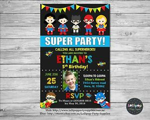 Image Is Loading SUPERHERO INVITATION CARDSTOCK BIRTHDAY PARTY CARD CUSTOM INVITE