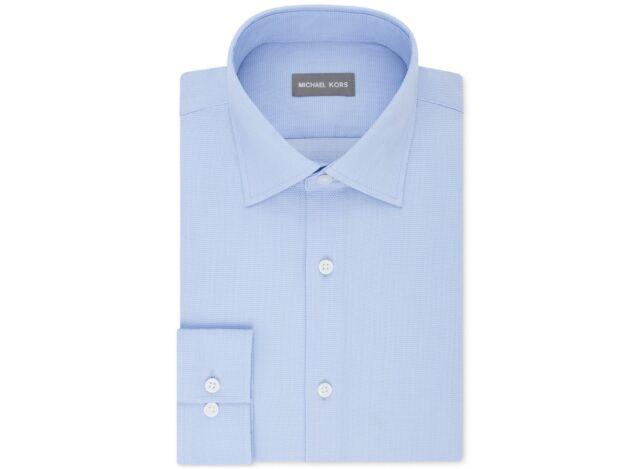 dcc70192d540 Michael Kors Men s Regular Fit Airsoft Solid Dress Shirt Blue 16.5 34 35
