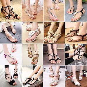 013ca79d714d8 Image is loading Bohemia-Womens-Summer-Slippers-Flip-Flops-Flat-Sandals-