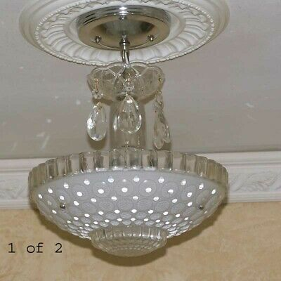 692 Vintage Antique arT Deco Ceiling Light Lamp Chrome Fixture Glass Hall Bath