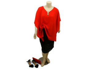 AUTOGRAPH-Red-Flutter-Sleeve-Kaftan-Top-Party-Evening-Plus-Size-18