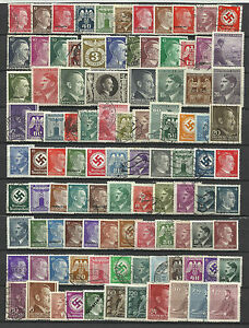 GERMANY-ADOLF-HITLER-ERA-STAMP-COLLECTION-PACKET-100-DIFFERENT-Stamps-Mint-Used