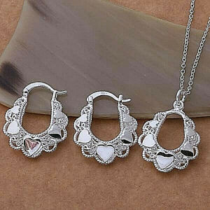 Frilly-Heart-Pendant-Necklace-and-Earrings-Set-925-Sterling-Silver-NEW