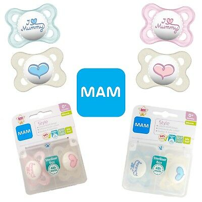 Choice of Design a96 MAM-I love ma Maman//i Love daddy Soother Twin Pack 0m