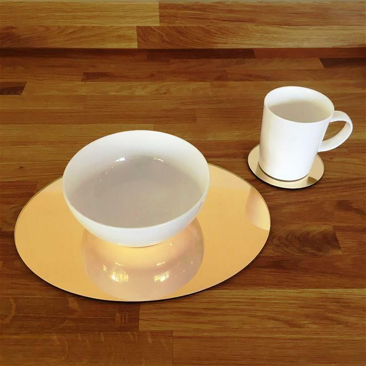Oval Shaped Gold Mirror Acrylic Placemats & Coasters, Größes 11.5x9  or 16x12