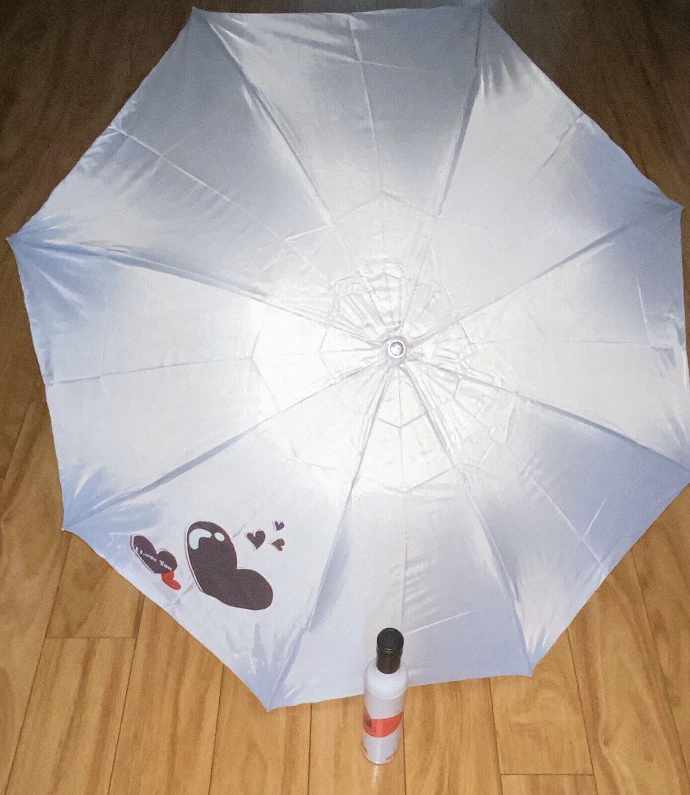Wine Bottle Umbrella White & Red Heart Bottle Black Top Umbrella
