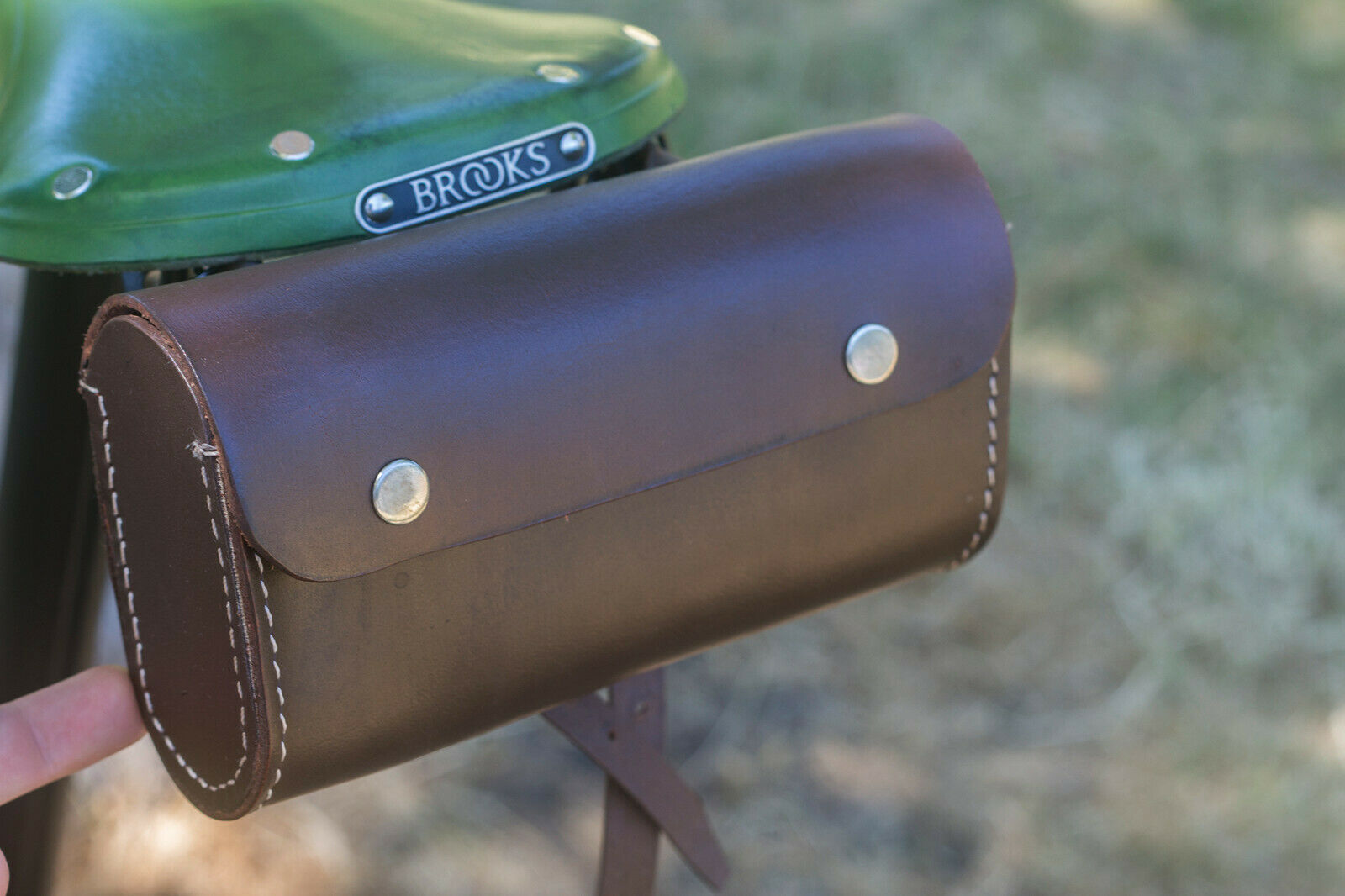 Leather  Saddle Bag For Bike BROWN Limited Edition by London Craftwork  low-key luxury connotation