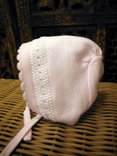 Will'beth Newborn Reborn Infant Baby Girl Pink Knit Baby Bonnet Babies Dolls NWT