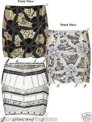 New Sequin Skirt Womens All Over Sequined Mini Skirt Sizes 6 8 10 12 14