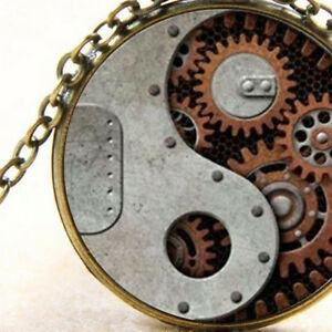 yin yang steampunk mechanics pendant necklace rustic gears and cogs