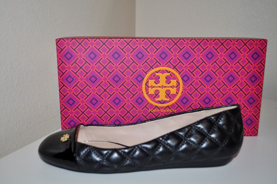 NEW  Tory Burch CLAREMONT Ballet Flat shoes Sz 5.5 Black Quilted Leather NIB