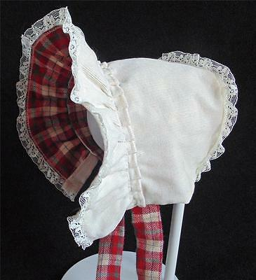 Cream Corduroy with Plaid Flannel Lining  Cold Weather Baby Bonnet