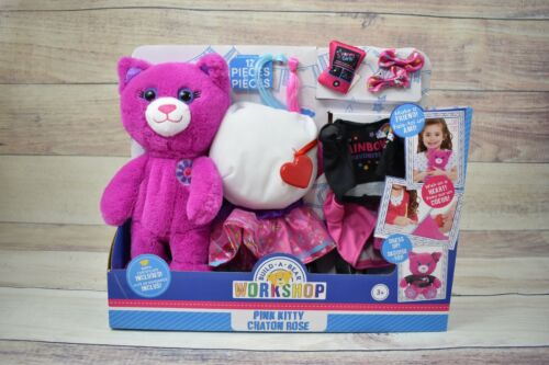 Build a Bear Workshop Pink Kitty Chaton Rose 12 Piece Bear Making Kit and Cloths