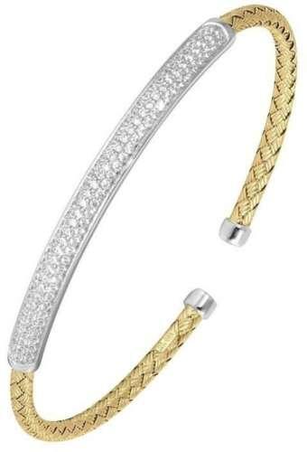 "Charles GARNIER /""Nardini plus/"" Plaqué Or /& Argent Sterling Zircone cubique Cuff Bracelet"