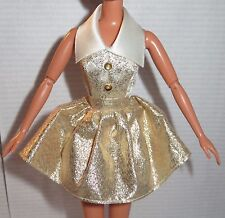 DRESS ONLY ~ BARBIE DOLL WHITE GOLD LAME FASHION AVENUE COCKTAIL DRESS CLOTHING