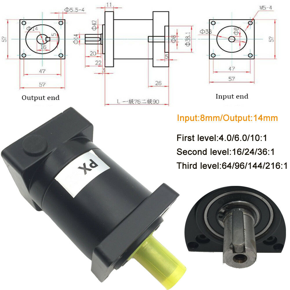 Planetary Gearbox for Nema23/34/42/52 Stepper Motor Speed Reducer Gear Head CNC 4
