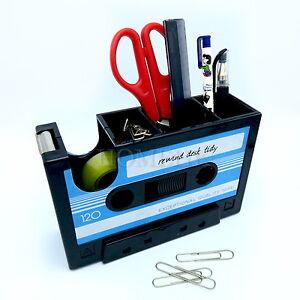 Cassette Tape Dispenser All-in-1 Multi Pen Stationery Brush Pot Retro Organizer