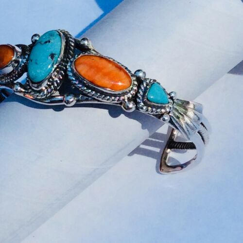 Details about  /Natural Turquoise Spiny Oyster Shell Sterling Silver Cuff Bracelet