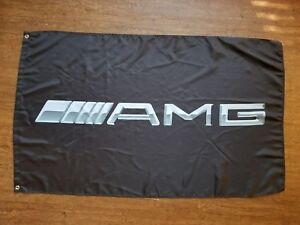 MERCEDES BENZ AMG FLAG BANNER 3X5FT BLACK CLS63 C63 S63 S65 E55 E63 AMG BLACK