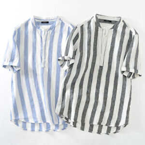 Mens Linen Collarless Shirt Long Sleeve Button Down Striped Printed T Shirt Tops