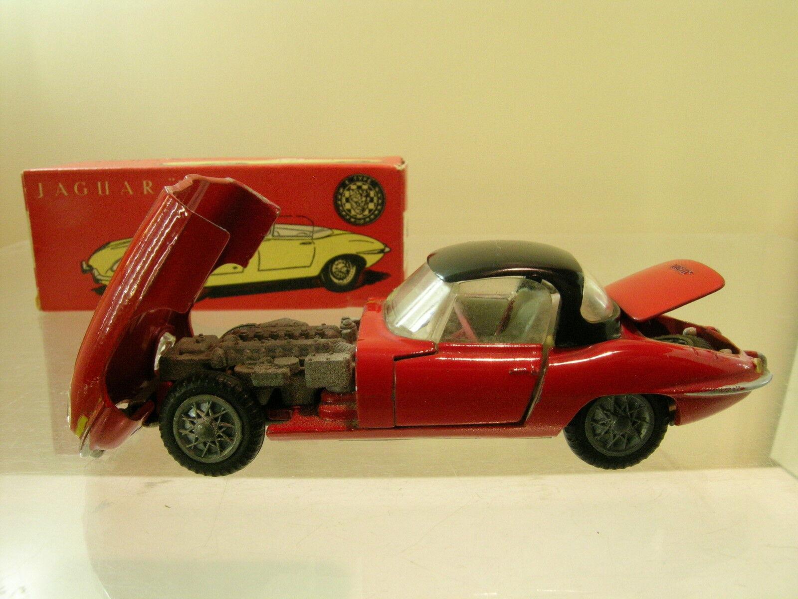 TEKNO DENMARK No. 927-171 JAGUAR E-TYPE rosso-nero TOP +  BOX SCALE 1 43