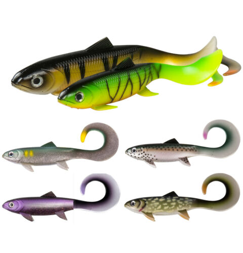 DAM EFFZETT LB Pike Seducer Curl Tail Loose Body 2er Pack 18cm//23cm Swimbait Aal