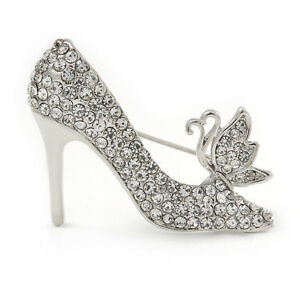 47188fe8b64ab Details about Clear Crystal High Heel Shoe Brooch In Silver Tone Metal -  40mm L