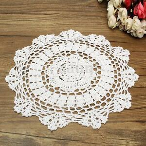 """About 12"""" Lace Floral Round Cream Hand Crochet Cup Mat Doilies Coasters Wedding 981318544991"""