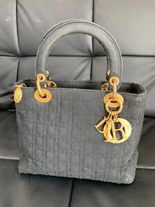 261d49449b A imagem está carregando Christian-Dior-Lady-Dior-Preta-Acolchoada-moire- Bolsa-