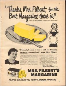 1951 Vintage ad for Mrs Filbert's Margarine`retro butter art