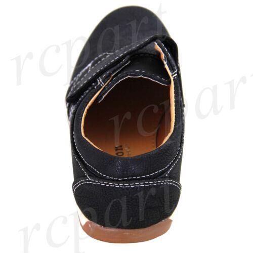 New boy kids sticky fasterning casual shoes walk comfort school Black