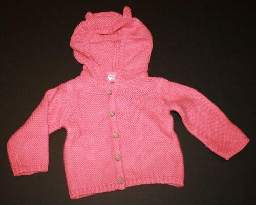 New Carter/'s Girls Coral Pink Sweater Cardigan Top 3m 6m 9m 12m Bear Ears Hood