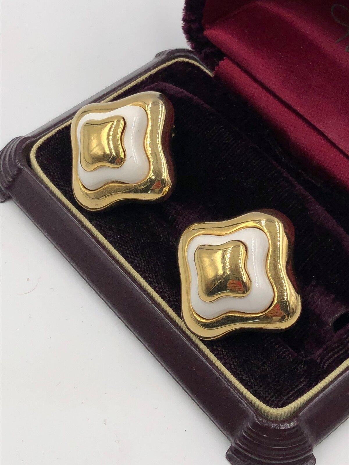 VINTAGE LANVIN SIGNED GOLD ENAMEL EARRINGS CLP FR… - image 3