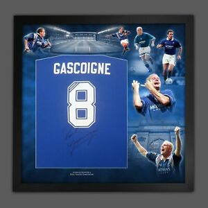 Paul  Gascoigne Signed Blue T -Shirt In A Picture Mount Display