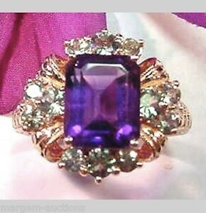 GENERATIONS-1912-GENUINE-AMETHYST-ALEXANDRITE-DIAMOND-RING-14kt-ROSE-GOLD