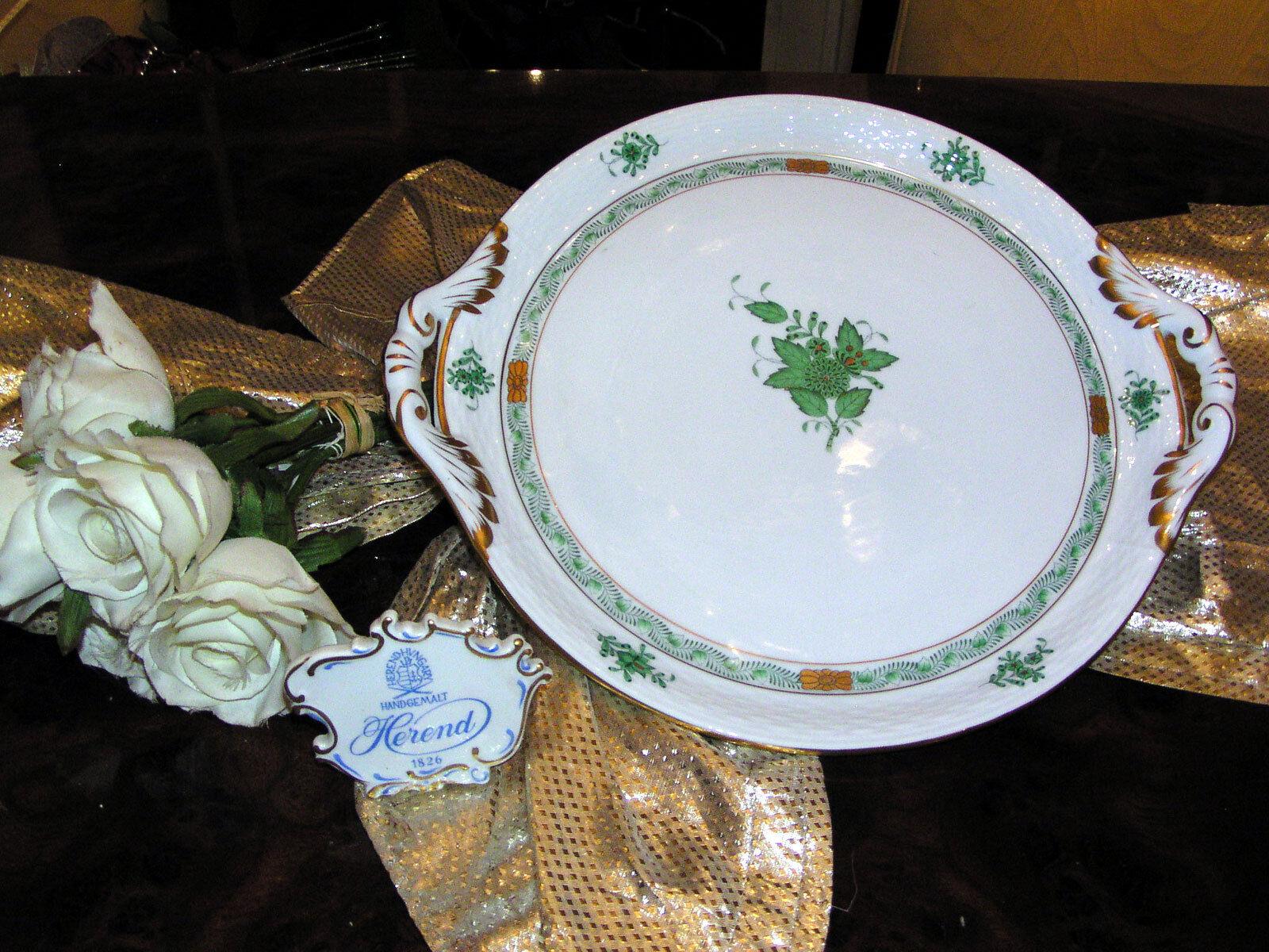 Noble gateau plaque avec poignées plaque plateau HEREND Apponyi vert vert