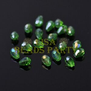 New-100pcs-5X3mm-Teardrop-Crystal-Glass-Faceted-Spacer-Loose-Beads-Green-AB