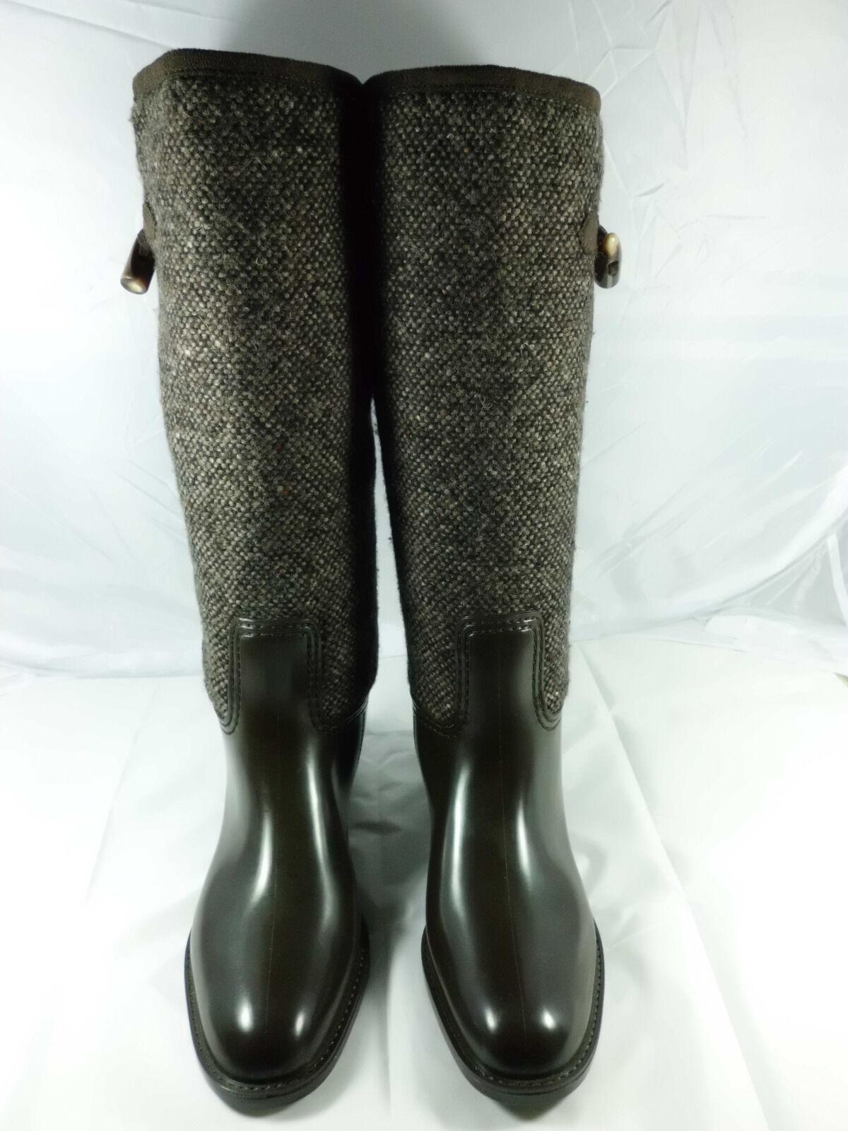 Damen Stiefel Gummi+Textil made in  Gr.: 39 mocca / Madeleine